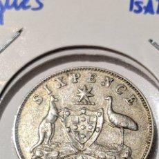 Monete antiche di Oceania: MONEDA PLATA AUSTRALIA. 6 PENIQUES 1955. ISABEL II.. Lote 235326125