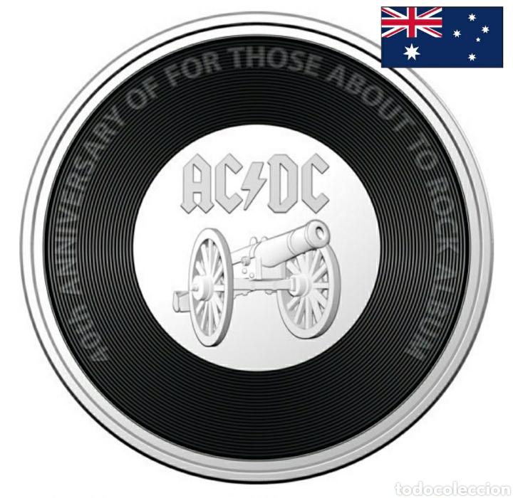 """MONEDA DISCO 20C ACDC.AUSTRALIA.CONMEMORATIVA 40° ANIVERSARIO """"FOR THOSE ABOUT TO ROCK"""" (Numismática - Extranjeras - Oceanía)"""