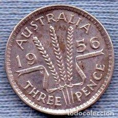 Monedas antiguas de Oceanía: AUSTRALIA 3 PENCE 1956 PLATA ELIZABETH II. Lote 244386205