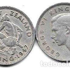 Monedas antiguas de Oceanía: MONEDA NUEVA ZELANDA 1 SHILLING ANO 1947 GUERRERO MAORI. Lote 244387130