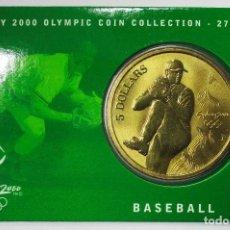 Monedas antiguas de Oceanía: AUSTRALIA 2000, 5 DOLLARS DE LAS OLIMPIADAS DE SIDNEY. BASEBALL. LOTE 3696. Lote 244544955