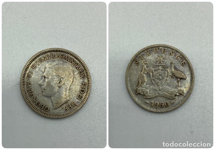 MONEDA. AUSTRALIA. GORGE VI. 6 PENCE - PENIQUES. PLATA. 1950. VER FOTOS (Numismática - Extranjeras - Oceanía)