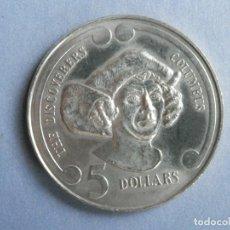Monedas antiguas de Oceanía: NUEVA ZELANDA MONEDA 5 DOLARES AÑO 1992 THE DISCOVERERS COLUMBUS. CONSERVACIÓN: SC. Lote 248311795