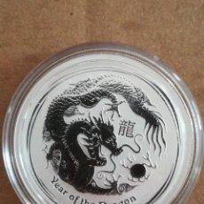 Monedas antiguas de Oceanía: MONEDA 50 CENT AUSTRALIA 2012 1/2 OZ PLATA 999 AÑO DRAGON. Lote 254120375