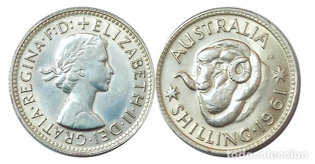 AUSTRALIA SHILLING 1961, PLATA, CARNERO, SC (Numismática - Extranjeras - Oceanía)
