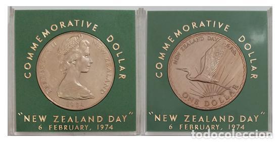 Monedas antiguas de Oceanía: NUEVA ZELANDA 1 DOLAR 1974, NEW ZEALAND DAY, EN ESTUCHE - Foto 2 - 259269265