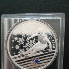 Monedas antiguas de Oceanía: MONEDA 1 DOLLAR AUSTRALIA 2010, 1 OZ , 31 GR PLATA PURA 999 OLIMPIC TEAM ESQUÍ. Lote 259884875