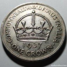 Monedas antiguas de Oceanía: MONEDA DE ONE CROWN AUSTRALIA 1937 PLATA. Lote 265376469
