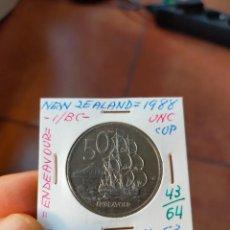 Monedas antiguas de Oceanía: MONEDA DE 50 CINCUENTA CENTS NUEVA ZELANDA NEW ZEALAND 1988 ENDEAVOUR SIN CIRCULAR. Lote 266185983