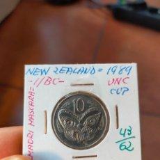 Monedas antiguas de Oceanía: MONEDA DE 10 DIEZ CENTS NUEVA ZELANDA NEW ZEALAND 1989 MASCARA MAORI SIN CIRCULAR. Lote 266186873