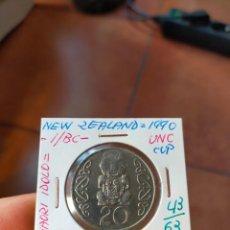 Monedas antiguas de Oceanía: MONEDA DE 20 VEINTE CENTS NUEVA ZELANDA NEW ZEALAND 1990 MAORI IDOLO SIN CIRCULAR. Lote 266187383