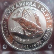 Monete antiche di Oceania: AUSTRALIA , 1 DOLAR DOLLAR PLATA PURA , 1 ONZA , KOOKABURRA 1992 PROOF. Lote 269298328