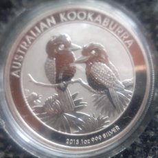 Monedas antiguas de Oceanía: AUSTRALIA KOOKABURRA 2013, UNA ONZA DE PLATA PURA. ENCAPSULADA. Lote 270639303