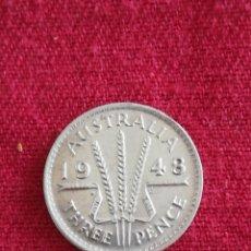 Monedas antiguas de Oceanía: MONEDA 3 PENCE AUSTRALIA 1948 GEORG VI PLATA S/C. Lote 272951368