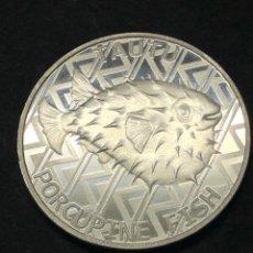Monedas antiguas de Oceanía: MONEDA LINGOTE ONZA DE PLATA PURA PEZ GLOBO 2021 TOKELAU. Lote 274627893