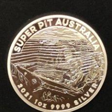 Monedas antiguas de Oceanía: MONEDA LINGOTE ONZA DE PLATA PURA - SUPER PIT 2021 AUSTRALIA. Lote 275923623