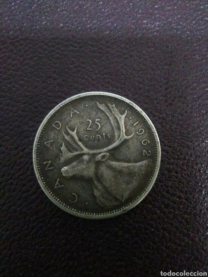 Monedas antiguas de Oceanía: Moneda isabel II canada 1962 ,25 centimos plata - Foto 2 - 276277213