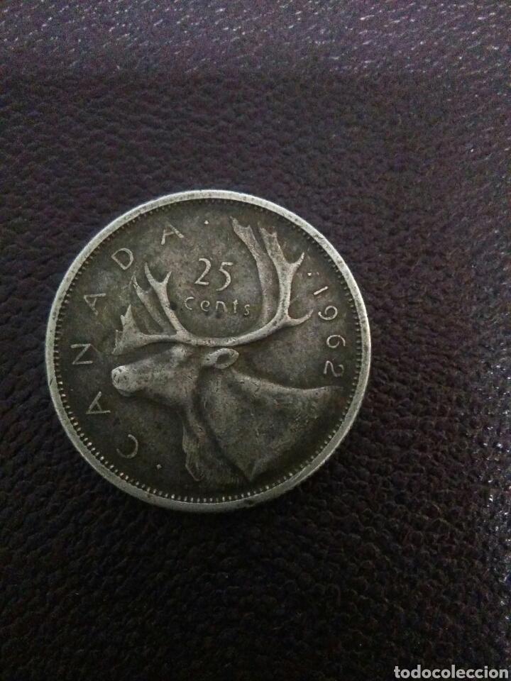 Monedas antiguas de Oceanía: Moneda isabel II canada 1962 ,25 centimos plata - Foto 4 - 276277213
