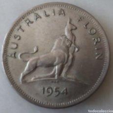 Monedas antiguas de Oceanía: AUSTRALIA FLORIN 1954 PLATA. Lote 284216123