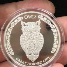 Monedas antiguas de Oceanía: MONEDA LINGOTE ONZA DE PLATA PURA - BÚHO CORNUDO 2021 TOKELAU. Lote 285154258