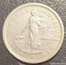 Monedas antiguas de Oceanía: FILIPINAS, MONEDA DE PLATA DE 20 CENTAVOS, AÑO 1904S. Lote 287658478