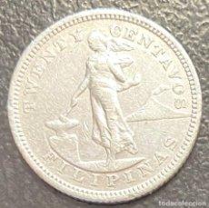 Monedas antiguas de Oceanía: FILIPINAS, MONEDA DE PLATA DE 20 CENTAVOS, AÑO 1905S. Lote 287659098