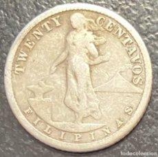 Monedas antiguas de Oceanía: FILIPINAS, MONEDA DE PLATA DE 20 CENTAVOS, AÑO 1911S. Lote 287659378