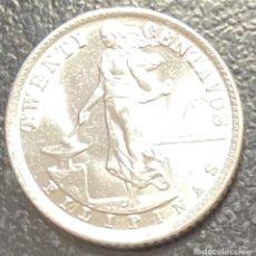Monedas antiguas de Oceanía: FILIPINAS, MONEDA DE PLATA DE 20 CENTAVOS, AÑO 1938M. Lote 287659993