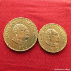 Monedas antiguas de Oceanía: TONGA 2 MONEDAS 1 + 2 PAANGA 1968 OIL SEARCH 1969. Lote 289645043