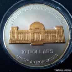 Monedas antiguas de Oceanía: NAURU 10 DÓLARES PLATA MONUMENTOS EUROPEOS. REICHSTAG ALEMÁN CON BAÑO DE ORO. 2000 UNIDADES. Lote 292385443