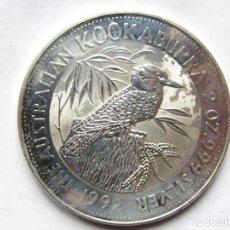 Monedas antiguas de Oceanía: 2 ONZAS DE PLATA PURA AUSTRALIA KOOKABURRA 1992. Lote 293996908