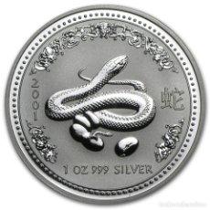 Monedas antiguas de Oceanía: AUSTRALIA 1 DOLAR PLATA 2001 AÑO DE LA SERPIENTE - CALENDARIO LUNAR 1 ONZA SNAKE. Lote 295838588