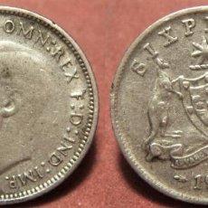 Monedas antiguas de Oceanía: MONEDA DE 6 PENIQUES SIXPENCE DE AUSTRALIA DE 1948, REY JORGE VI DE INGLATERRA PLATA. Lote 295848523