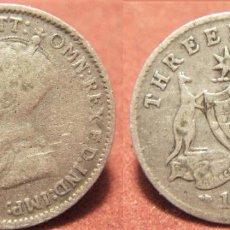 Monedas antiguas de Oceanía: MONEDA DE AUSTRALIA 3 PENIQUES 1922. JORGE V PLATA. Lote 295849633