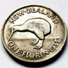 Monedas antiguas de Oceanía: ⚜️ A2227. PLATA. 1 FLORIN 1933. NUEVA ZELANDA. Lote 296565043