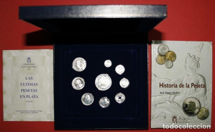 Monedas antiguas: 2001 Estuche últimas Pesetas. plata ley ESPAÑA 2001.certificado de autenticidad y libro - Foto 2 - 122827160