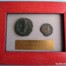 Monedas antiguas: CUADRO CON DOS AUTENTICAS MONEDAS ROMANAS DE CARTHAGO NOVA. SIGLO I.. Lote 95743623