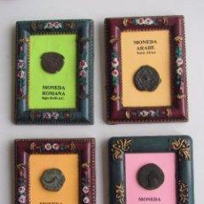Monedas antiguas: 4 MINI-CUADRITOS CON SENDAS MONEDAS CARTAGINESA, ROMANA, DE CARTAGO NOVA Y DE MARRUECOS.. Lote 95743987