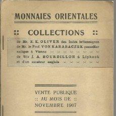 Monedas antiguas: MONEDAS ORIENTALES , AMSTERDAM 1907. 124 PÁGINAS + 4 PLANCHAS DE MONEDAS. Lote 115187475