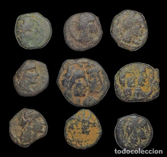 Monedas antiguas: Lote 9 monedas de Nabatea - Reyes de Petra (Jordania) - Foto 2 - 190937955