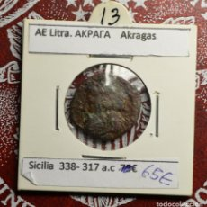 Monedas antiguas: GRECIA - SICILIA - LITRA - AKRAGAS. Lote 248596285