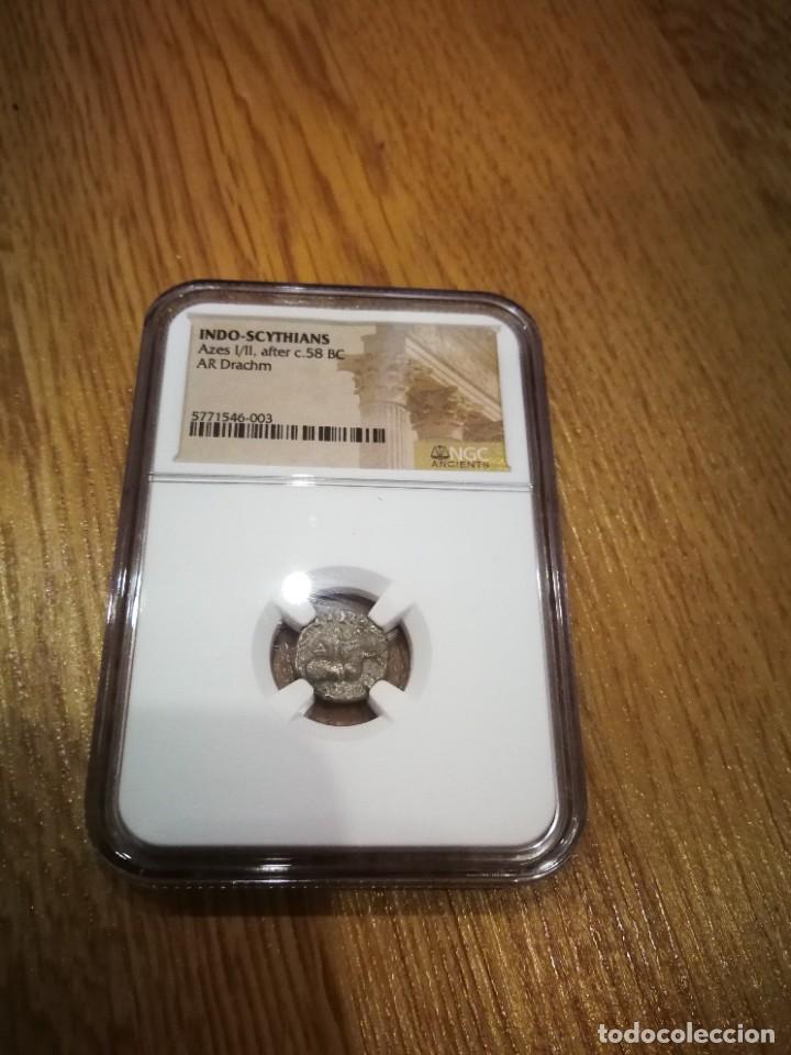 Monedas antiguas: Dracma Indo escita de Plata de Azes I/II, S I a.c, moneda de los reyes magos certificado NGC - Foto 2 - 254977425