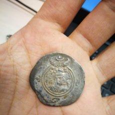 Monedas antiguas: AUTENTICO DRACMA PLATA KHUSRO II WYH AÑO 10. Lote 270904698