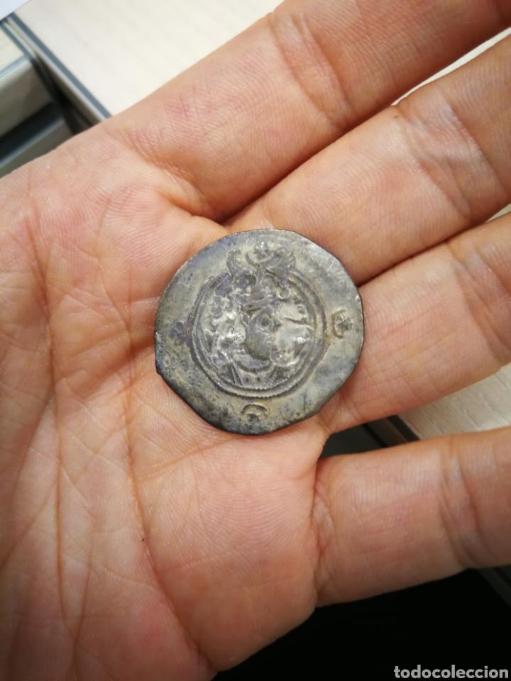 AUTÉNTICO DRACMA DE PLATA SASANIDA DE KHUSRO II, RAM AÑO 3 (Numismática - Periodo Antiguo - Otras)