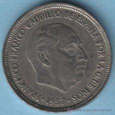 Monedas con errores: ESPAÑA 5 PESETAS 1957 * 73. CUÑO DOBLADO. ANVERSO LEYENDA GRUESA. Lote 23497909