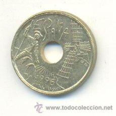 Monedas con errores: 3-155. MONEDA ERROR. 25 PTAS 1996. AGUJERO MAL FORMADO. Lote 9001133
