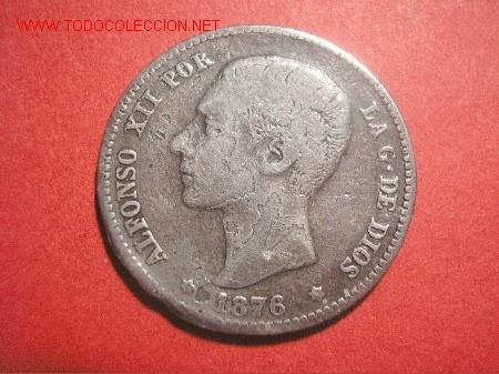 ALFONSO XII 1 PESETA 1876 DEM (VARIANTE) (Numismática - España Modernas y Contemporáneas - Variedades y Errores)
