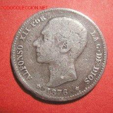 Monedas con errores: ALFONSO XII 1 PESETA 1876 DEM (VARIANTE). Lote 26928539