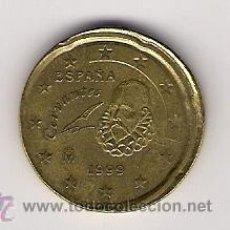 Monedas con errores: MONEDA DE 20 CENTIMOS DE 1999 DESPLAZADA. Lote 27105202