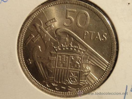Monedas con errores: 50 PESETAS 1957 (19-71) SC CURIOSO EXCESO DE METAL EN REVERSO - Foto 2 - 26846535